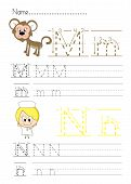 image of letter n  - Practise alphabet handwriting letters M N  on white paperworksheet - JPG