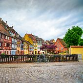 Colmar, Petit Venice, Bridge, Bike And Traditional Houses. Alsace, France.