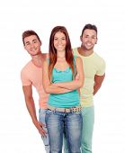 Pretty girl with two handsome boys isolated on a white background