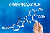Hand with pen drawing the chemical formula of omeprazole