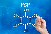 Hand with pen drawing the chemical formula of PCP