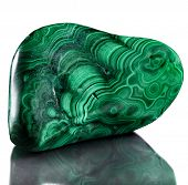Polished malachite  isolated on a white background
