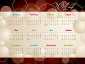 2014 Calendar With Bubbles And Circles