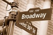 Broadway And West 36Th Street Sign