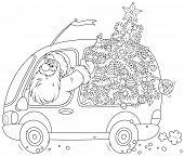 Santa carries a Christmas tree
