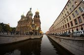Church on Spilt Blood and Griboyedov Canal in St. Petersburg, Russia.
