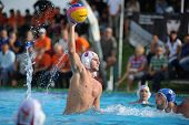 KAPOSVAR, HUNGARY - SEPTEMBER 15: Jozsef Berta (5) in action at a Hungarian championship water-polo