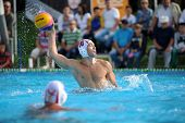KAPOSVAR, HUNGARY - SEPTEMBER 15: Romeo Kutasi (10) in action at a Hungarian championship water-polo