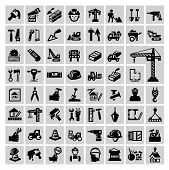 foto of trucks  - vector black construction icon set on gray - JPG