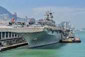 HONG KONG, CHINA - Sept 18:The U.S. amphibious assault ship USS Bonhomme Richard pulled in Hong Kong