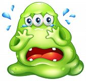 Illustration of a monster crying on a white background