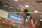 LINZ, AUSTRIA - JANUARY 31 Lukas Wirth (#614 Austria) places 8th in the men's pole vault event on Ja