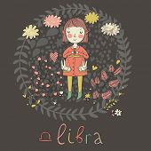 Cute zodiac sign - Libra. Vector illustration. Little girl in flowers. Background with flowers and c