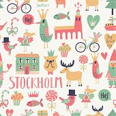 Stockholm concept seamless pattern in vector. House, church, gnome, birds, moose, bicycle, horse and other Stockholm symbols in bright colors.