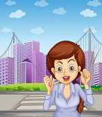 Illustration of a long haired businesswoman at the pedestrian lane