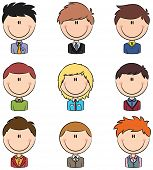 image of role model  - Doodle set with different cute male avatar - JPG