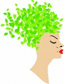Beautiful Lady with green leaf hairstyle
