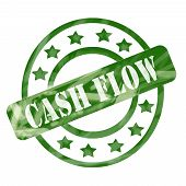 Green Weathered Cash Flow Stamp Circles And Stars