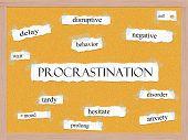 Procrastination Corkboard Word Concept