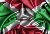 picture of burundi  - Satin flag three dimensional render flag of Burundi - JPG