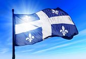 Quebec (canada) Flag Waving On The Wind