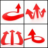 pic of trident  - 3d rendered image set of red 3d arrows on a white background - JPG