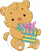 Illustration of a Cute Baby Bear Holding a Gift Box