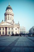 Gendarmenmarkt In Berlin, Germany. View On German Cathedral And Konzerthaus.