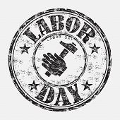Labor day grunge rubber stamp