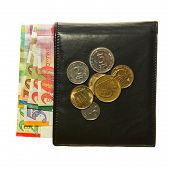 stock photo of shekel  - Black leather wallet with Israeli shekel notes and coins - JPG