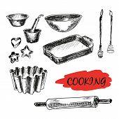 Set of kitchen utensils. All baking