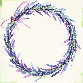 painted watercolor wreath of lavender