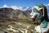 Ancient Lion Sculpture In Himalaya Mountains In Nepal.