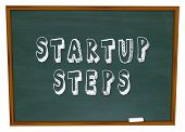 Startup Steps Chalk Board Word School Business Instructions Advice