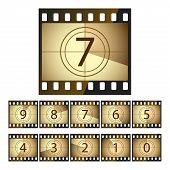 Film strip countdown. Vector.