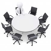 3d man at the round table. Seven empty chairs