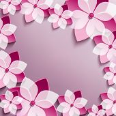 Floral Festive Frame With Pink 3D Flowers Sakura