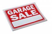 Garage sale sign on white background