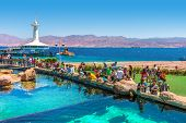 EILAT, ISRAEL - MARCH 31, 2010: Marine park observatory with hundreds of thousands visitors annually