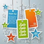 Three Colored Price Sticker With Stars