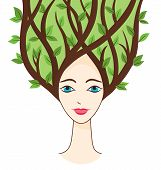 Vector Illustration Of Woman Face With Symbols Of Summer.