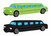 Green / Black Limousine Car Vehicle Cartoon - Vector Illustration
