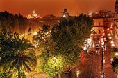 Plaza Nueva Ferdinand Statue Train Rainy Night Church El Salvador Seville Spain
