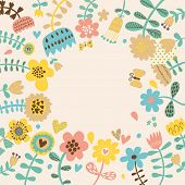 Cartoon floral background. Bright stylish flowers butterflies in vector