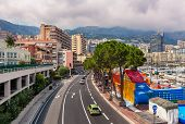 MONTE CARLO, MONACO - JULY 13, 2013: View from above of urban road which is also used for Monaco Gra