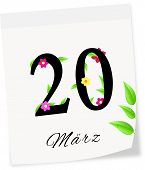 Calendar Page With Date Of Spring Season-20.03.2014 Year