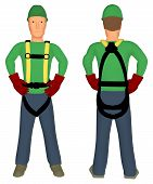 Worker with harness back and front