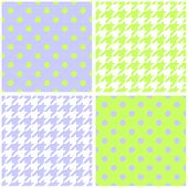 Blue, white and green vector background set. Houndstooth and polka dots seamless pattern collection
