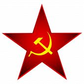 picture of communist symbol  - Communist red star with hammer and sickle on white - JPG