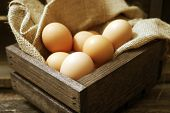 Eggs In Wooden Crate